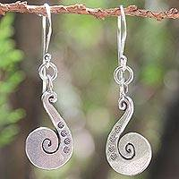 Sterling silver dangle earrings, 'Chiang Mai Song' - Sterling silver dangle earrings