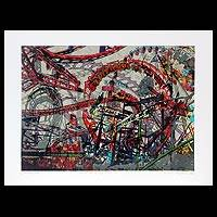 'Movement of Line and Color IV' - Expressionist Print from Thailand