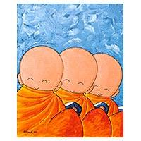 'Thailand Offering III' - Signed Naif Painting of Three Children as Thai Monks