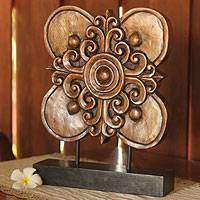 Wood sculpture, 'Blossoming Shield' - Hand Carved Floral Wood Sculpture