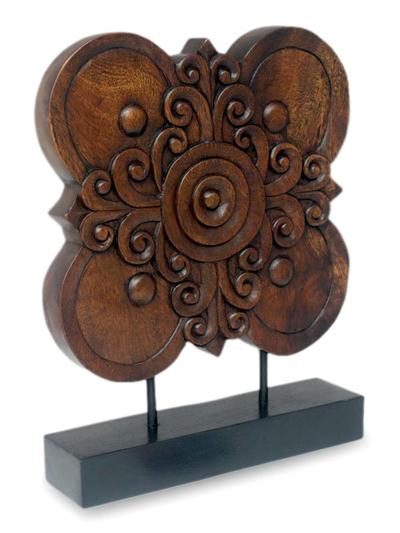 Hand Carved Floral Wood Sculpture