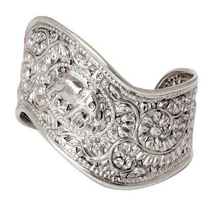 Sterling silver cuff bracelet, 'Siamese Elephant' - Thai Sterling Silver Cuff Bracelet