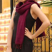 Silk scarf, 'Pomegranate Supreme' - Fair Trade Silk Scarf