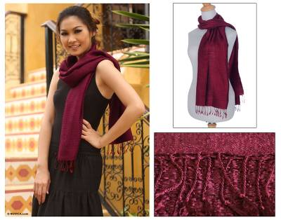 Silk scarf, 'Pomegranate Supreme' - Fair Trade Silk Scarf