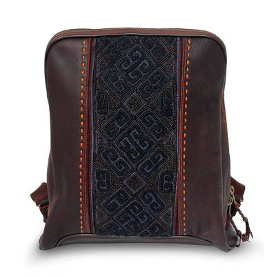Leather and cotton backpack bag