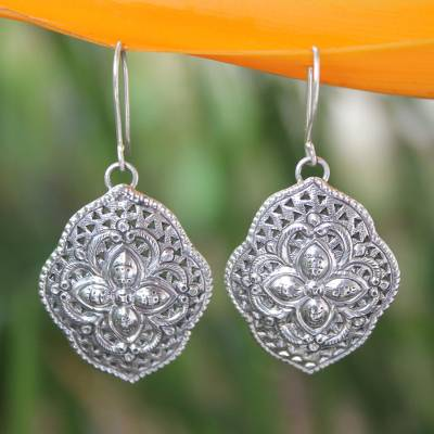 Sterling silver dangle earrings, 'Tribal Shields' - Handcrafted Floral Sterling Silver Dangle Earrings