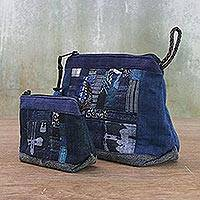 Cotton and hemp cosmetic bags, 'Ethnic Blue' (pair) - Handmade Patchwork Cosmetic Bags from Thailand (Pair)