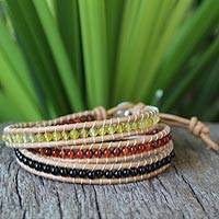 Onyx and carnelian wrap bracelet, 'Sundown' - Onyx and Carnelian Wrap Bracelet