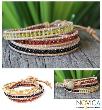 Onyx and carnelian wrap bracelet, 'Sundown' - Onyx and Carnelian Wrap Bracelet