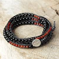 Onyx and carnelian wrap bracelet, 'Mekong Midnight' - Fair Trade Onyx and Carnelian Wrap Bracelet