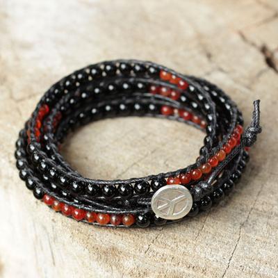 Onyx and carnelian wrap bracelet, 'Mekong Midnight' - Fair Trade Onyx and Carnelian Wrap Bracelet