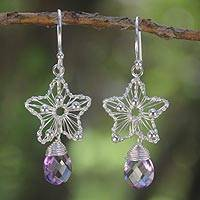 Amethyst dangle earrings, 'Lilac Star' - Amethyst dangle earrings