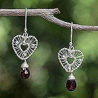 Garnet heart earrings, 'Web of Love' - Handcrafted Silver and Garnet Heart Earrings