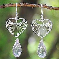 Rose quartz heart earrings, 'Web of Love' - Heart Shaped Sterling Silver and Rose Quartz Earrings