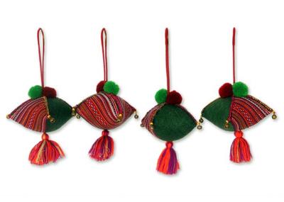 Hemp and cotton ornaments, 'Emerald Hmong Feast' (set of 4) - Hemp and cotton ornaments (Set of 4)