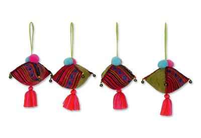 Hemp and cotton ornaments, 'Jade Rose Hmong Feast' (set of 4) - Hemp and cotton ornaments (Set of 4)