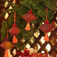 Hemp and cotton ornaments, 'Golden Hmong Feast' (set of 4)