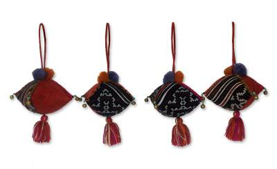 Hemp and cotton ornaments, 'Burgundy Hmong Feast' (set of 4) - Hand Made Christmas Ornaments (Set of 4)