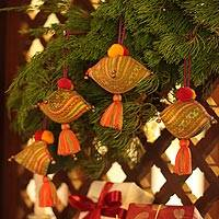 Hemp and cotton ornaments, 'Golden Emerald Feast' (set of 4)