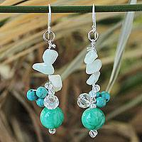 Amazonite cluster earrings, 'Morning Skies' - Turquoise Colored Amazonite and Quartz Earrings