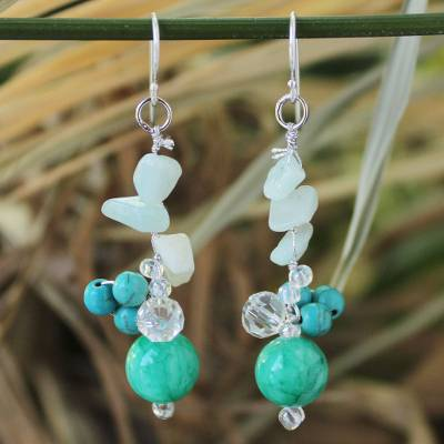 Amazonite cluster earrings, 'Morning Skies' - Hand Crafted Amazonite and Quartz Earrings