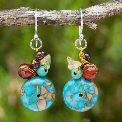 Carnelian and garnet cluster earrings, 'Thai Color' - Carnelian and Garnet Beaded Dangle Earrings