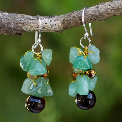 Tiger's eye cluster earrings, 'Chiang Mai Melody' - Hand Made Beaded Dangle Earrings