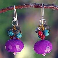 Multi-gemstone cluster earrings, 'Chiang Rai Feast' - Fair Trade Beaded Quartz Earrings