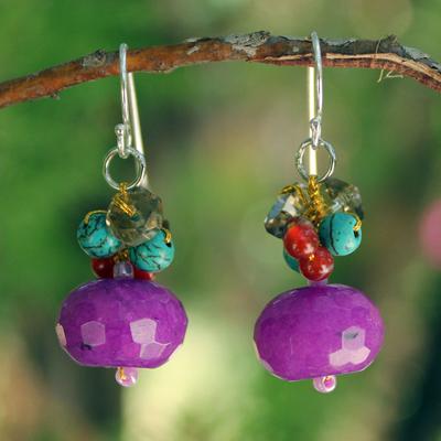Multi-gemstone cluster earrings, 'Chiang Rai Feast' - Fair Trade Beaded Quartz Earrings