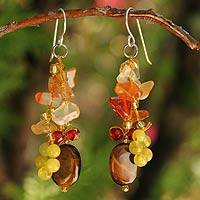 Tiger's eye and carnelian cluster earrings, 'Thai Autumn' - Thai Multigem Beaded Sterling Silver Cluster Earrings