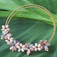 Pearl and tourmaline choker, 'Bangkok Bouquet' - Hand Made Moonstone and Pearl Necklace