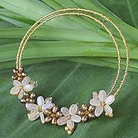 Pearl and citrine choker, 'Sukhothai Bouquet' - Pearl and Citrine Beaded Flower Necklace