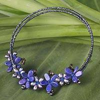 Pearl and lapis lazuli choker, 'Phuket Flowers' - Unique Gemstone Flower Necklace from Thailand
