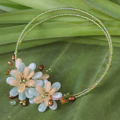 Pearl and quartz choker, 'Ban Chiang Bouquet' - Floral Quartz Choker Necklace