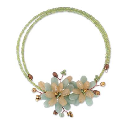 Floral Quartz Choker Necklace