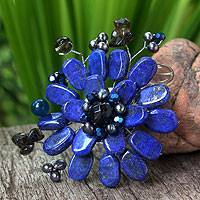 Lapis lazuli and smoky quartz brooch pin, 'Phuket Flowers'