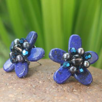 Lapis lazuli and pearl button earrings, 'Phuket Flowers' - Lapis Lazuli and Pearl Button Earrings