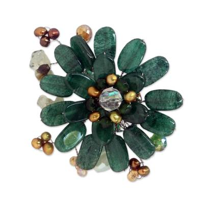 Hand Crafted Floral Quartz Brooch Pin