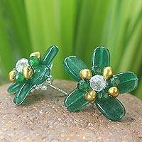 Featured review for Quartz and pearl button earrings, Jungle Flowers