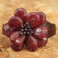 Garnet and leather cuff bracelet, 'Khao Yai Blossom' - Handcrafted Floral Quartz and Leather Cuff Bracelet