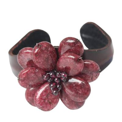 Handcrafted Floral Quartz and Leather Cuff Bracelet