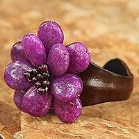 Garnet and leather cuff bracelet, 'Doi Inthanon Blossom' - Floral Leather Cuff Bracelet from Thailand