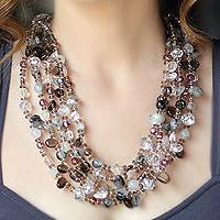 Smoky quartz beaded necklace, 'Epic Celebration' - Smoky Quartz Beaded Necklace
