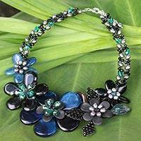 Quartz and cultured pearls flower necklace, 'Blossoming Midnight' - Glass Bead Silver Plated Necklace