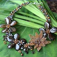 Cultured pearl and smoky quartz floral necklace, 'Floral Mystery'