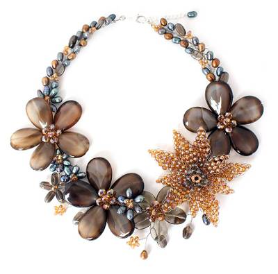 Cultured pearl and smoky quartz floral necklace, 'Floral Mystery' - Cultured pearl and smoky quartz floral necklace