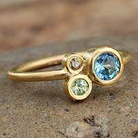 Gold plated blue topaz cocktail ring, 'Chiang Mai Majesty' - Gold Plated Blue Topaz and Peridot Ring