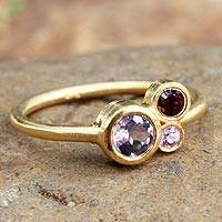 Gold plate sapphire cocktail ring, 'Chiang Mai Majesty' - Gold Plated Multi-Stone Ring