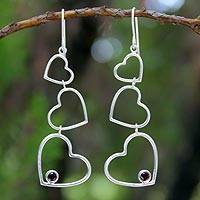 Garnet heart earrings, 'Love's Passion' - Heart Shaped Sterling Silver and Garnet Earrings