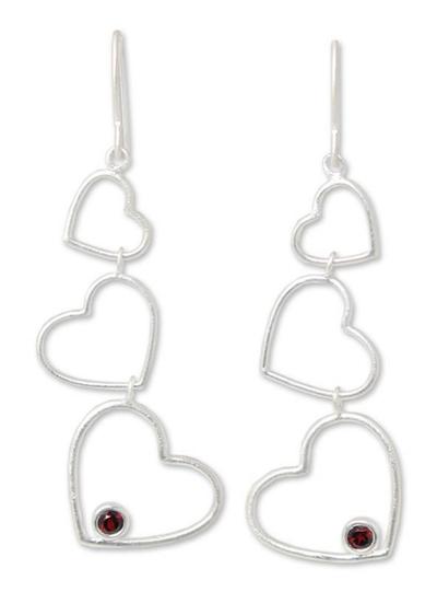 Garnet heart earrings, 'Love's Passion' - Heart Shaped Sterling Silver and Garnet Earrings